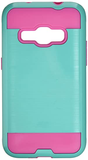 online retailer c10ce 97c98 Asmyna Cell Phone Case for Samsung Galaxy J1 - Teal Green/Hot Pink