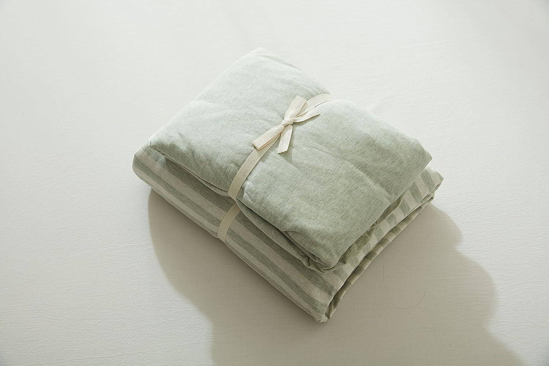 Gradation Striped Print Elastic 4Pcs Cotton Jersey Knit Duvet Cover Set