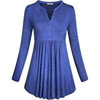 SeSe Code Women's Long Sleeve Mandarin Collar Shirt Pleated Button Flare Hem Tunic Tops (FBA)