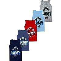 LOREZA ® 5 Camisetas de niño Camiseta sin Mangas de algodón - 2-13 años