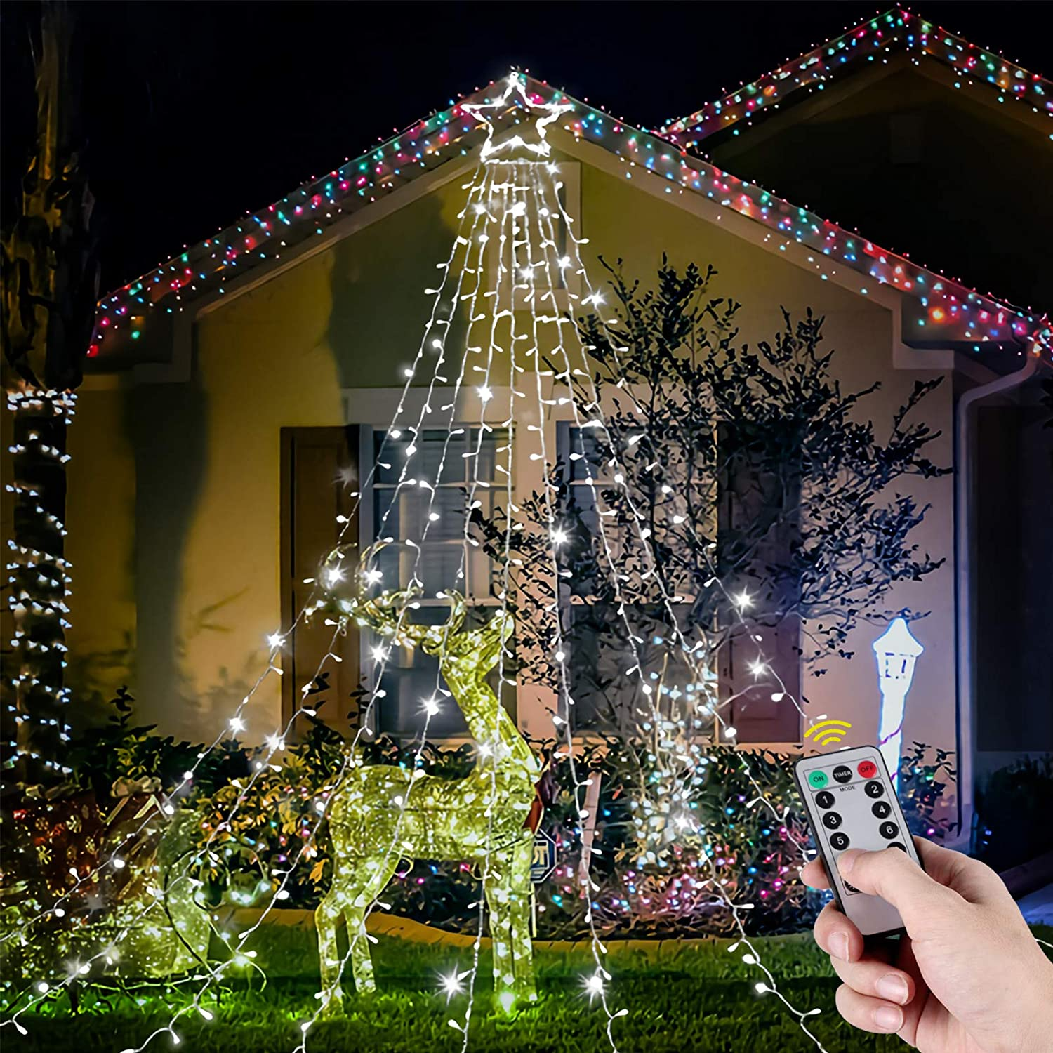 Christmas Outdoor String Light, LED Lights with Lighted Topper Star Patio for Outdoor Christmas Decorations