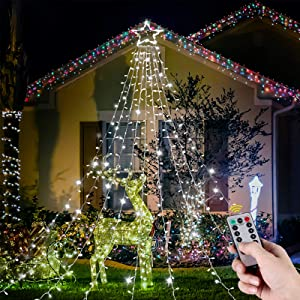 """YUNLIGHTS Christmas Lights 344 LED 9 X 12 Ft Fairy Lights with 12"""" Lighted Topper Star for Outdoor Christmas Decorations 8 Lighting Modes Decoration Lights with Remote for Christmas Wedding Party"""