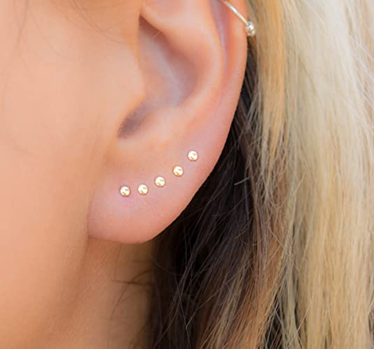 6ed2cf19d70a1 Tiny Dot Stud Earring Multiple piercing Round Ear Jewelry 14k Gold ...