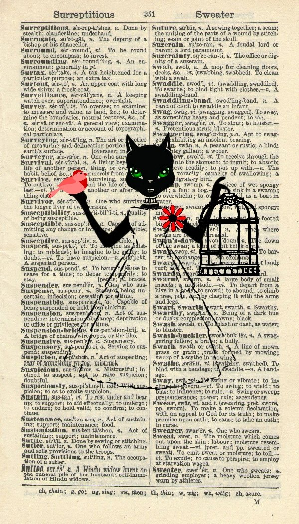 CAT ART PRINT - CAT WITH RED BIRD - WHIMSICAL ART PRINT - VINTAGE ART PRINT - Art Print - WALL ART - Illustration - Vintage Dictionary Art Print - Wall Hanging - Home Décor - Book Print 351B