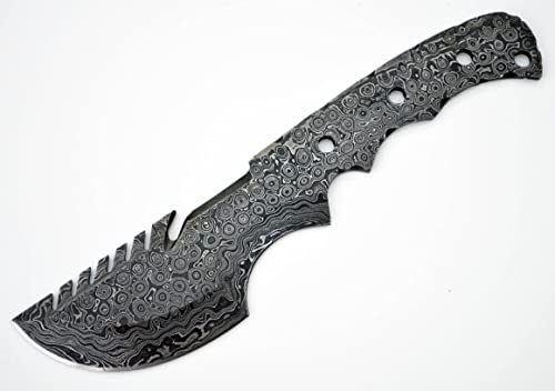 Whole Earth Supply Tactical Tracker Damascus Large Carbon Steel Blank Blade Survival Knives Knife Making