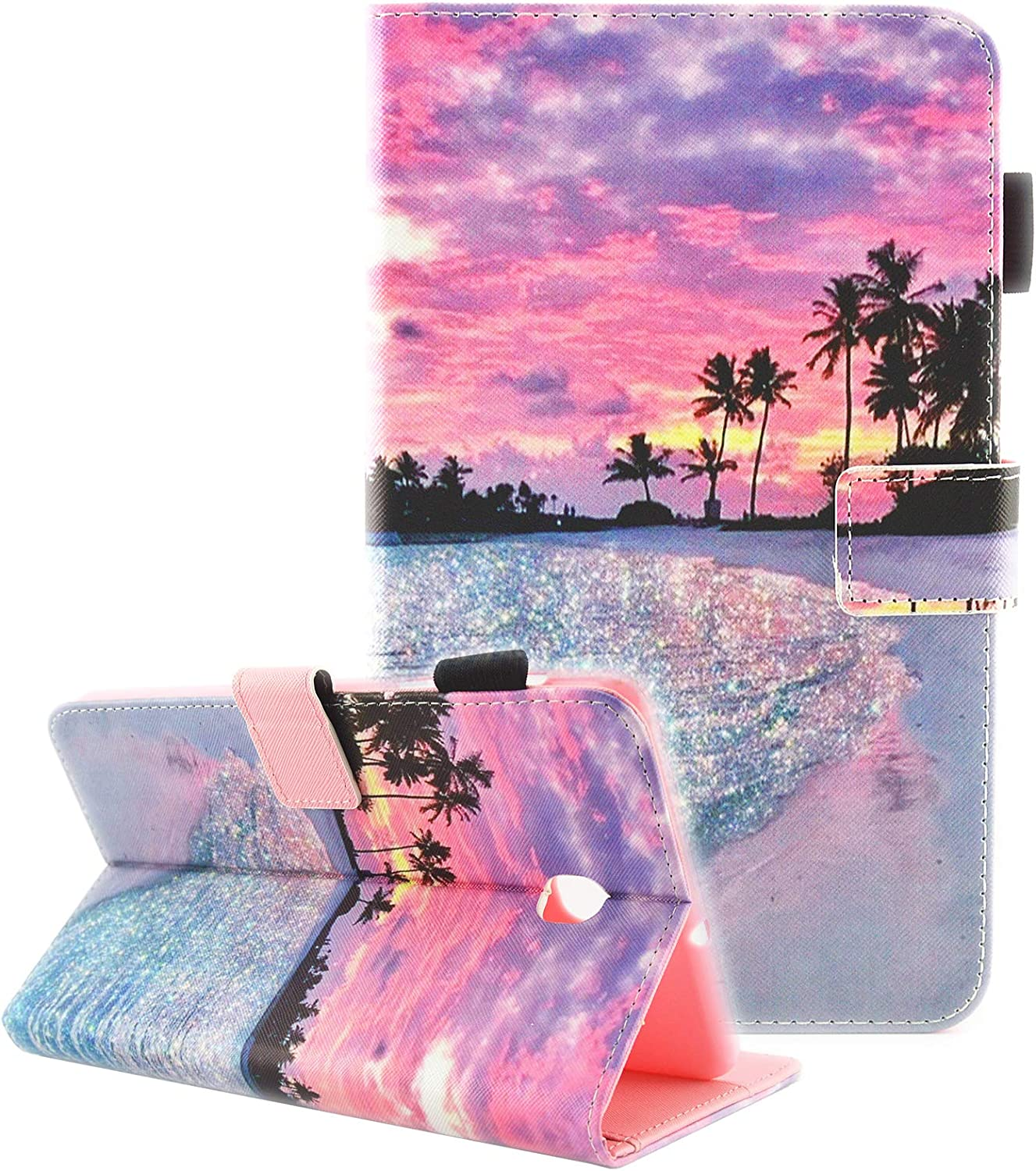 Fvimi Samsung Galaxy Tab A 8.0 2018 Case, T387 Case, PU Leather Multi-Angle Viewing Folio Stand Cover for Samsung Galaxy Tab A 8.0 2018 Model SM-T387 Verizon/Sprint/T-Mobile/AT&T, Dusk Beach