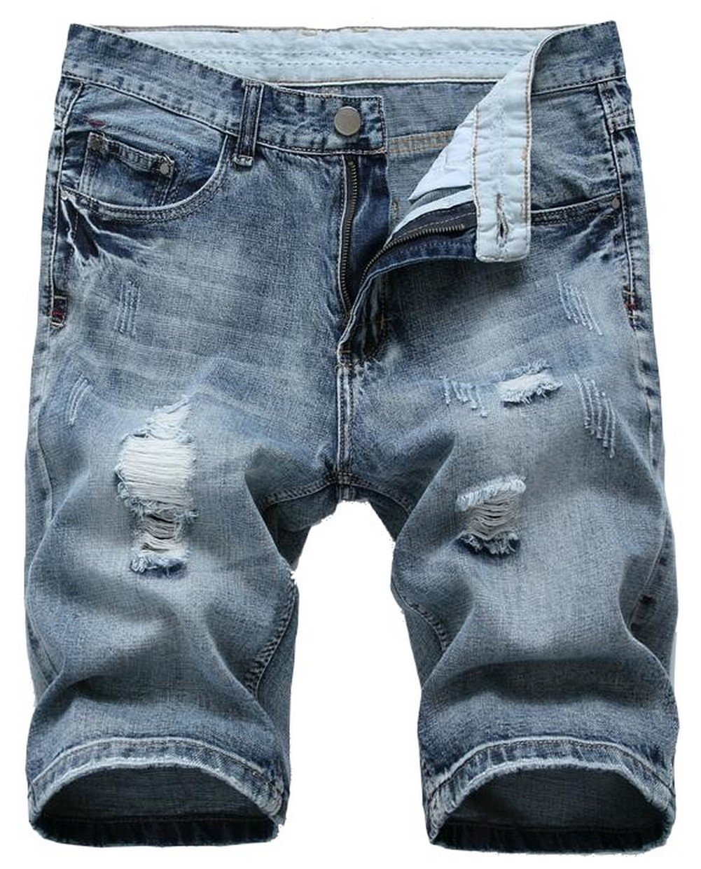Jinmen Men's Regular Fit Ripped Distressed Straight Denim Shorts Hole