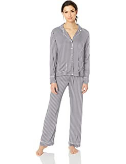 720386762513 Splendid Women s Button Up Long Sleeve Top and Bottom Classic Pajama Set Pj