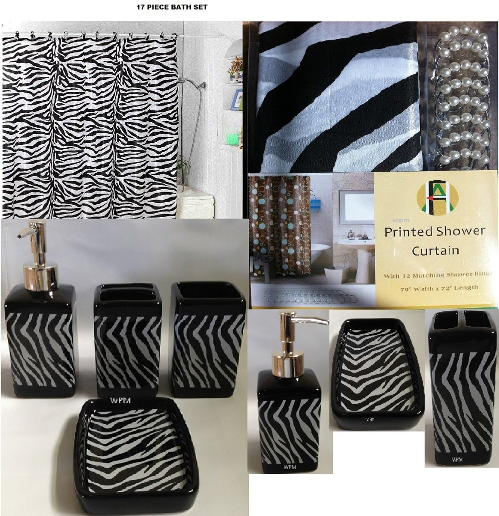 Amazon.com: 17 Piece Bath Accessory Set  Black Zebra Shower Curtain With  Decorative Rings + Bathroom Accessories Set: Home U0026 Kitchen