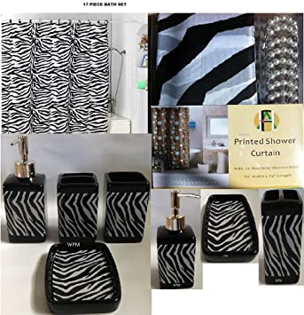 Shower Curtains bathroom ensembles shower curtains : Amazon.com: 17 Piece Bath Accessory Set- Black Zebra Shower ...