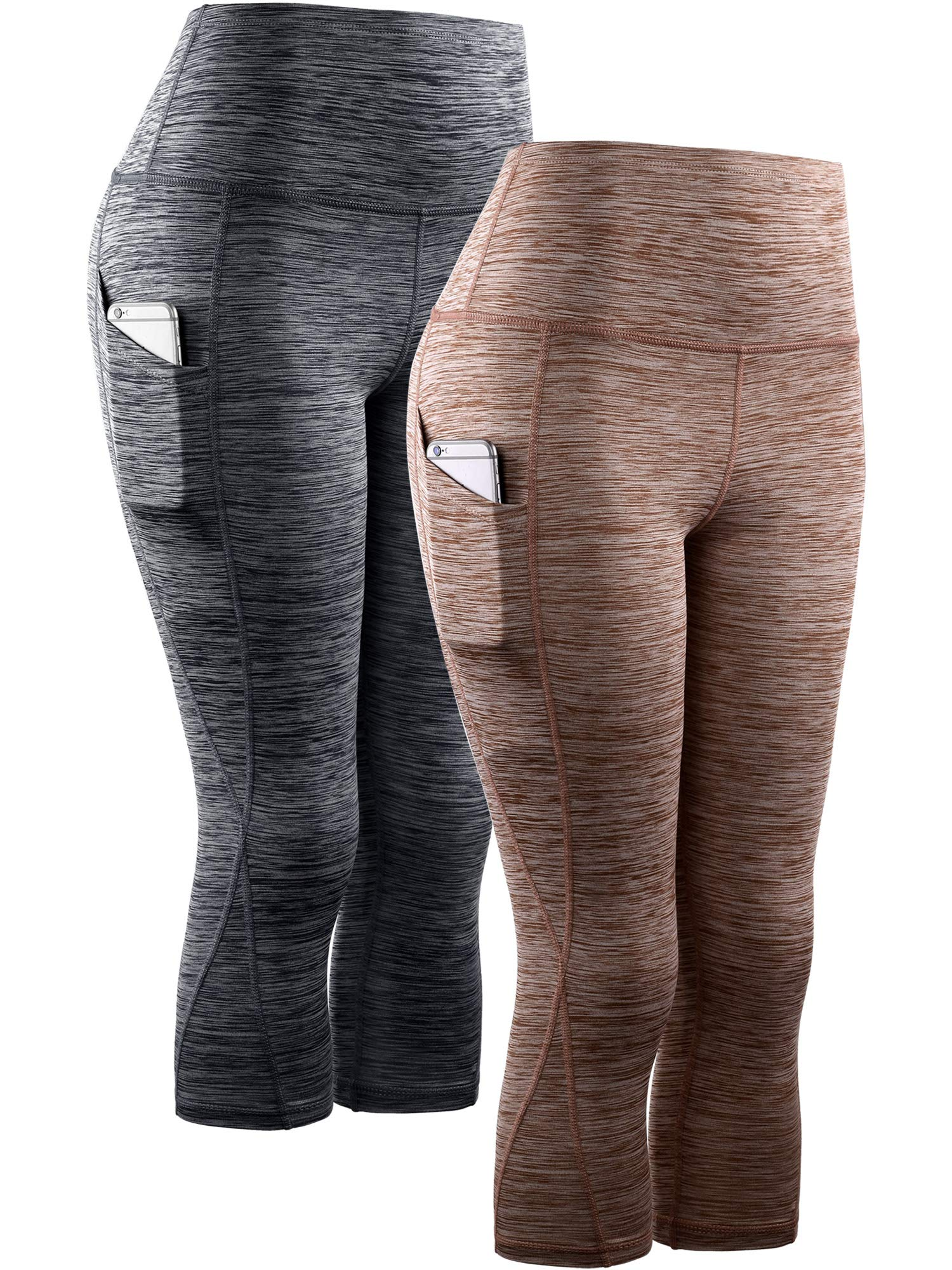 Neleus Women's 2 Pack Tummy Control High Waist Yoga Capri Leggings with Pockets,9034,Black,Brown,XL,EU 2XL by Neleus