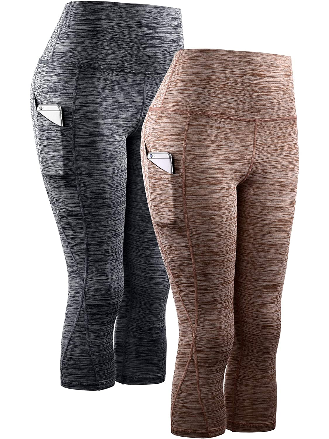 9034 Black Brown,2 Pack Neleus High Waist Running Workout Leggings for Yoga with Pockets
