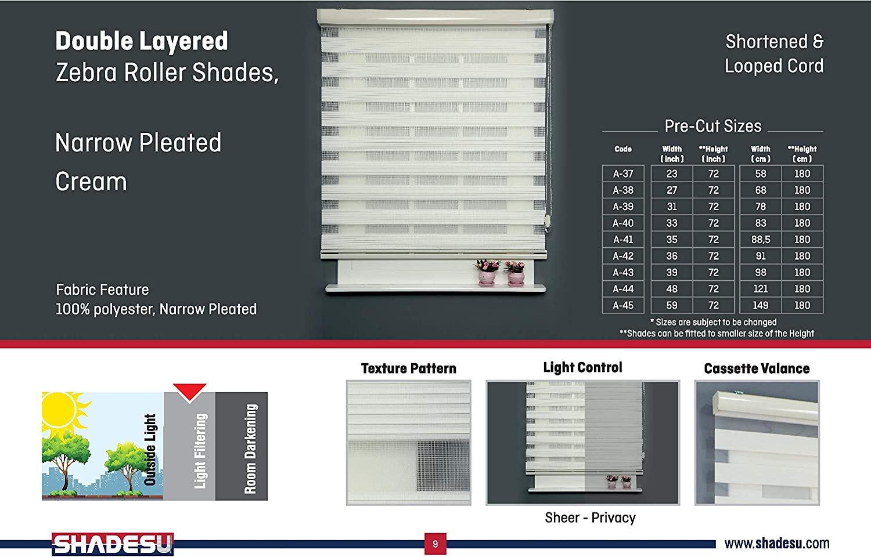 Maxium Height 72inch ShadesU Cream Narrow Pleated Facric Zebra Dual Layer Roller Sheer Shades Blinds Light Filtering Window Treatments