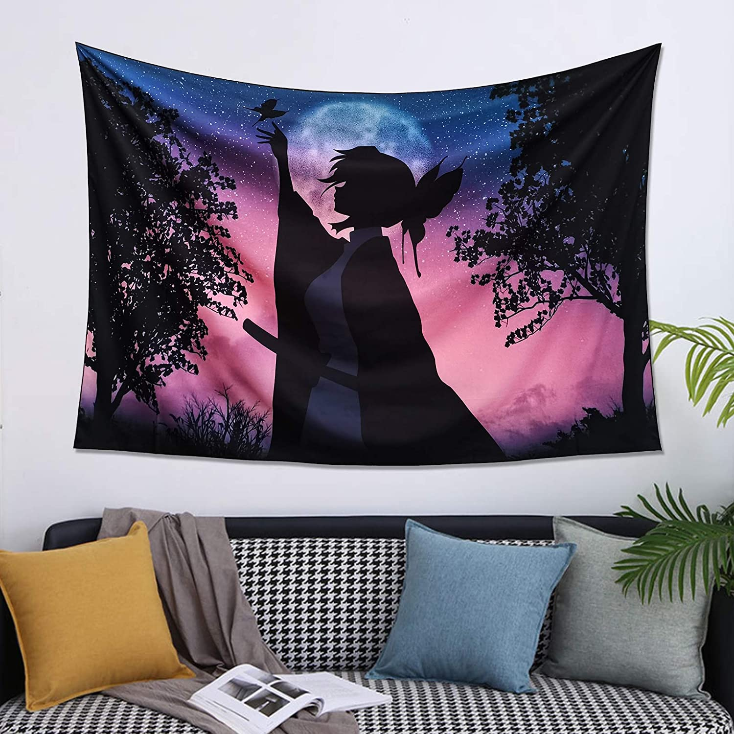 Demon Slayer Tapestry JPN Art Decor for Bedroom Cartoon Poster Background Tapestry Anime Tapestry Wall Hanging for Living Room, College Dormitory Room Home Decoration 60x40 Inches