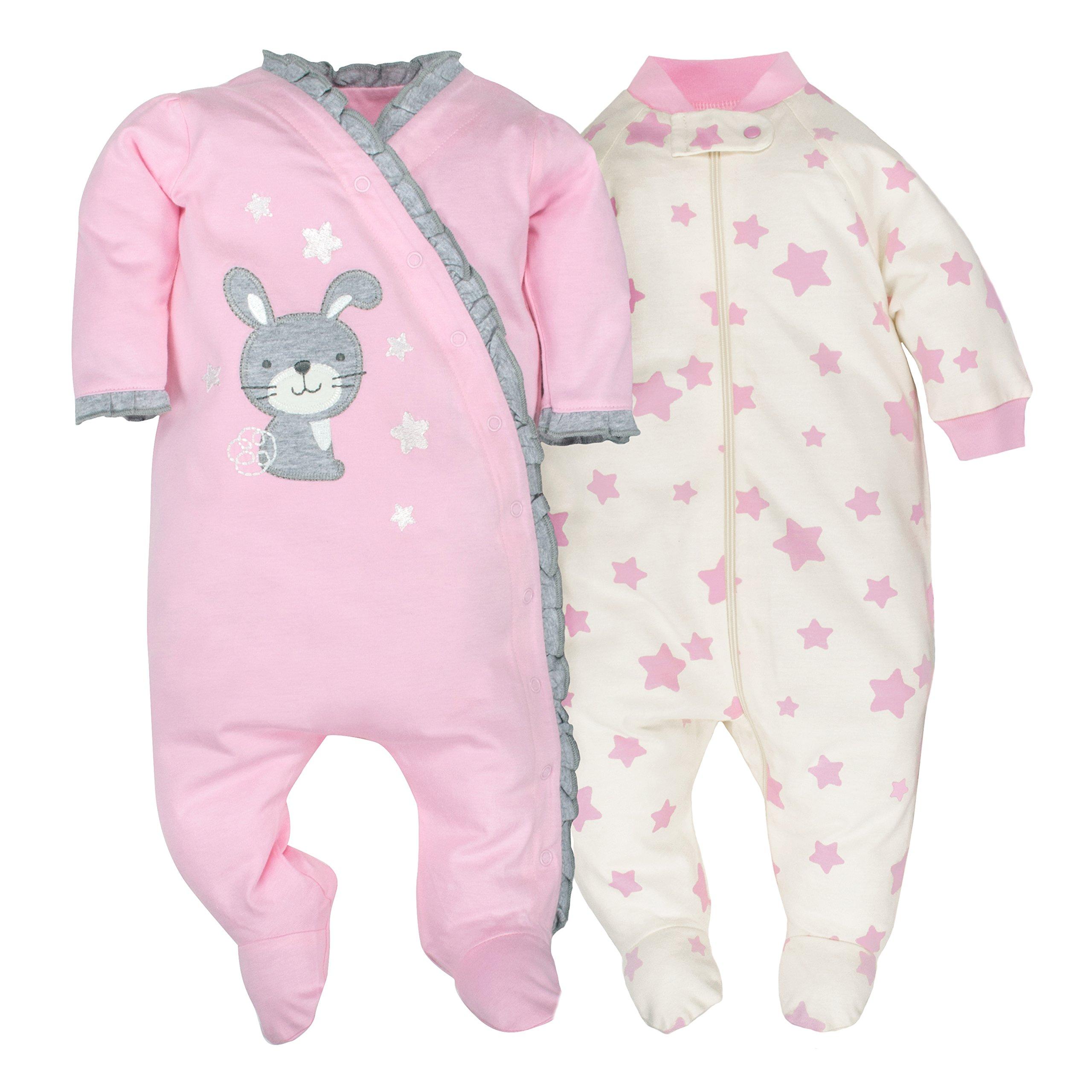 Gerber Baby Girls 2 Pack Organic Zip Front Sleep 'N Play, Light Pink/Ivory, 0-3 Months