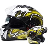 Adult Off Road Helmet DOT Dirt Bike Motocross ATV Motorcycle Offroad (Yellow, Medium)