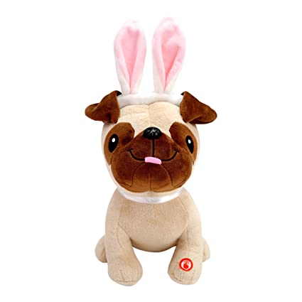Amazon hallmark plush pug in easter bunny ears with sound hallmark plush pug in easter bunny ears with sound sings easter version of quot negle Image collections