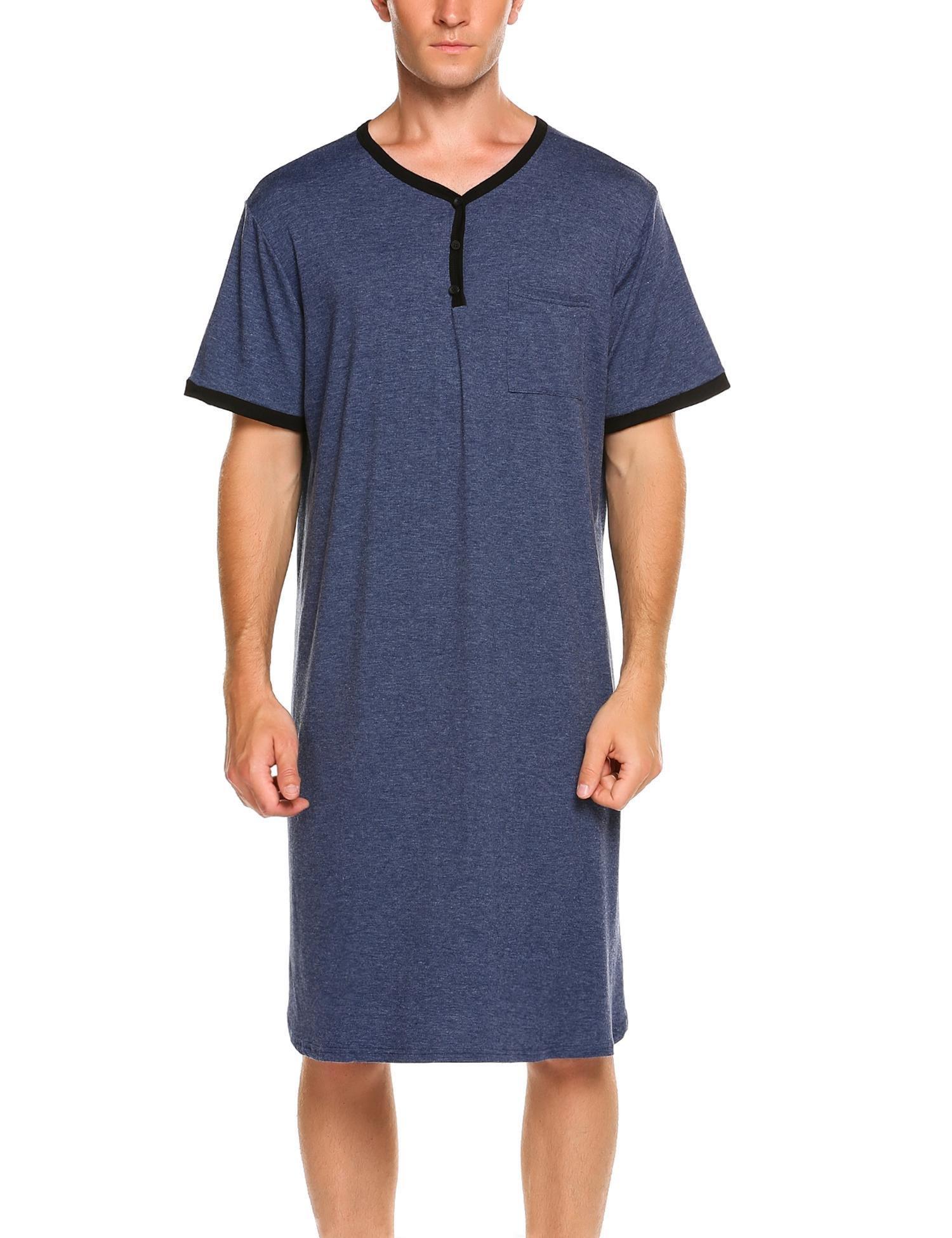 Adoeve Nightdress Men's Comfort Sleepwear Short Sleeve Nightshirt Sleep Shirt (Blue, XXXL)