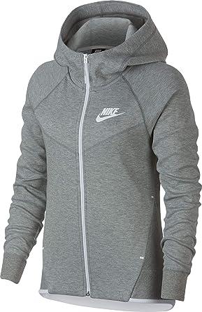 e90007f89 Amazon.com: Nike Womens Tech Fleece Full Zip Hoodie Grey Heather/White  930759-063-Size Small: Clothing