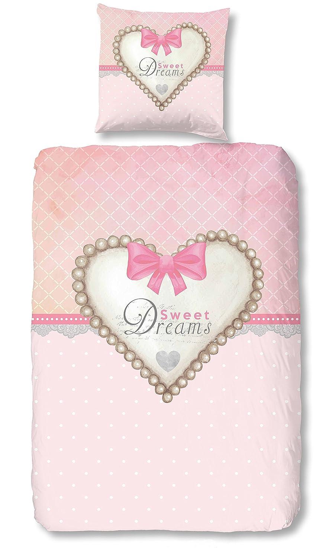 Aminata Kids - Kinder-Bettwä sche-Set 135-x-200 cm Herz-en-Motiv Sache-n Mä dchen 100-% Baumwolle Renforce pink-e rosa Weiss-e