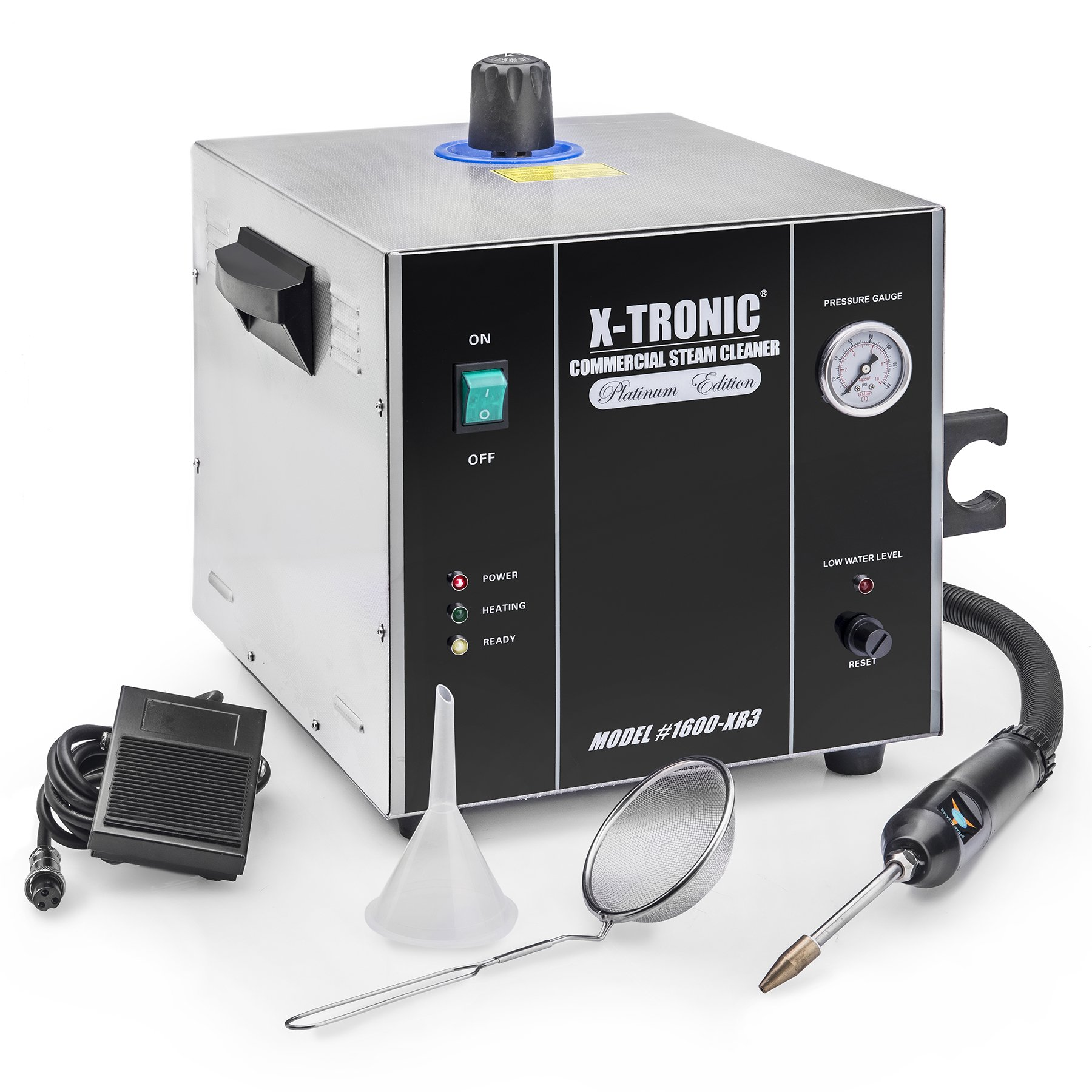 X-Tronic Model #1600-XR3 - 2 Liter Commercial Jewelry Steamer Steam Cleaner - Includes: Steam Gun with 48'' Hose, Side Gun Holder, Steam Control by Foot Pedal or Gun Nozzle, Cleaning Basket & Funnel