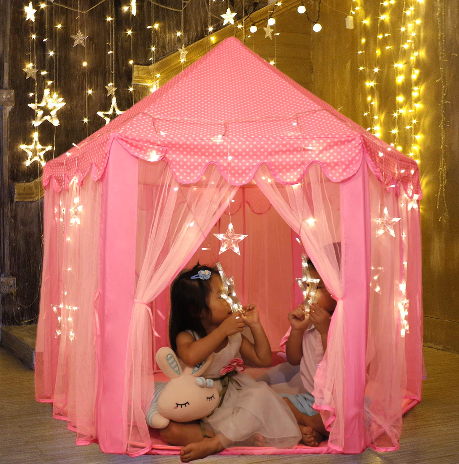 Sumerice Kids Play Tent Large Indoor and Outdoor Hexagon Princess Castle Tent Fairy Playhouse for Girls, Boys, Children (Pink)