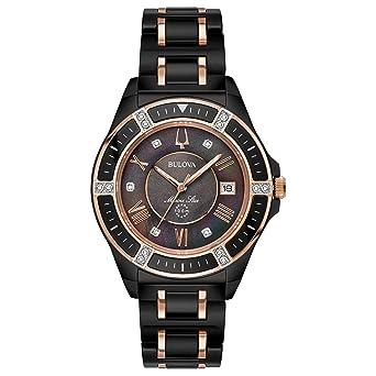 8c9441ab9a99 Amazon.com  Ladies  Bulova Marine Star Diamond Black Stainless Steel Watch  98R242  Watches