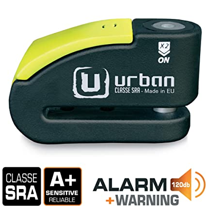 Urban Security 999 Candado Antirrobo Disco Alta Seguridad con Alarma, Negro/Amarillo, 14 mm