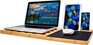 "BOOKAHOLIC Lap Desk| Enhanced Organic Bamboo Lap Tray with Vent Holes & Built-in Fabric Covered Mouse Pad for 11"",13"",15"" Laptops