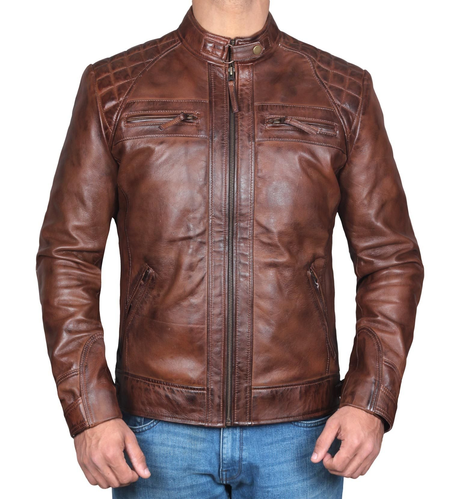 Mens Johnson Slim Fit Quilted Distressed Brown Real Leather Biker Jacket - M by Decrum