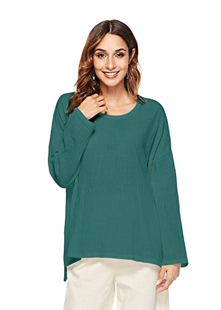 Prior Jms Women S Linen T Shirt Blouse Casual Loose Long Sleeve Tops