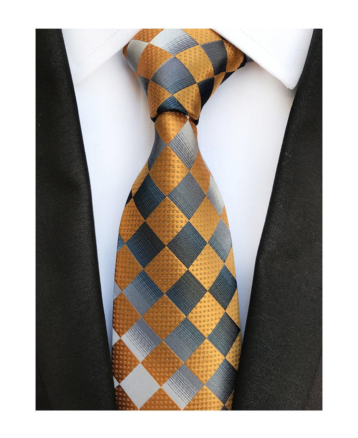 Men's Slim Orange Grey Woven Polyester Ties Casual Party Wedding Dress Neckties