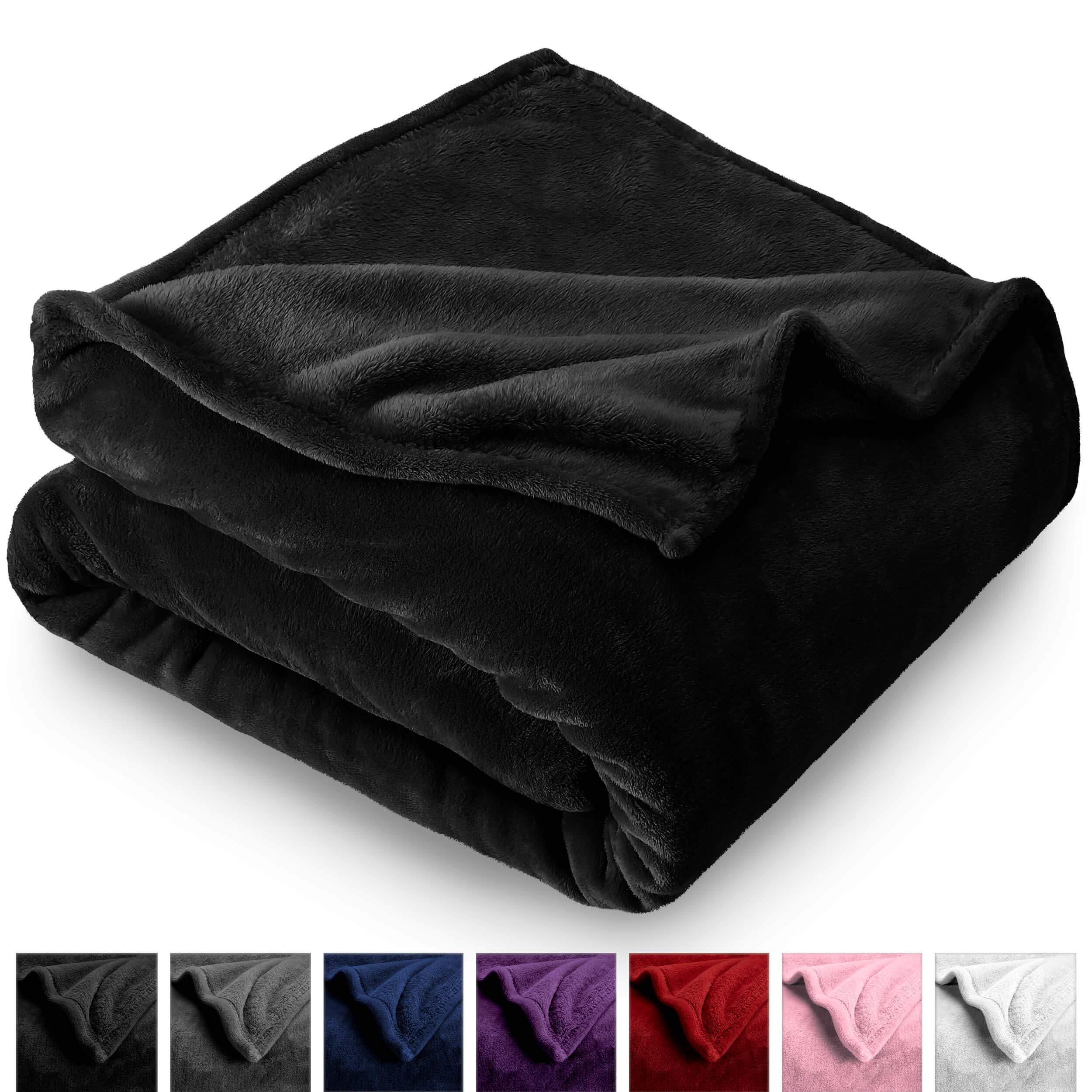 Bare Home Microplush Velvet Fleece Blanket - Full/Queen - Ultra-Soft - Luxurious Fuzzy Fleece Fur - Cozy Lightweight - Easy Care - All Season Premium Bed Blanket (Full/Queen, Black) by Bare Home