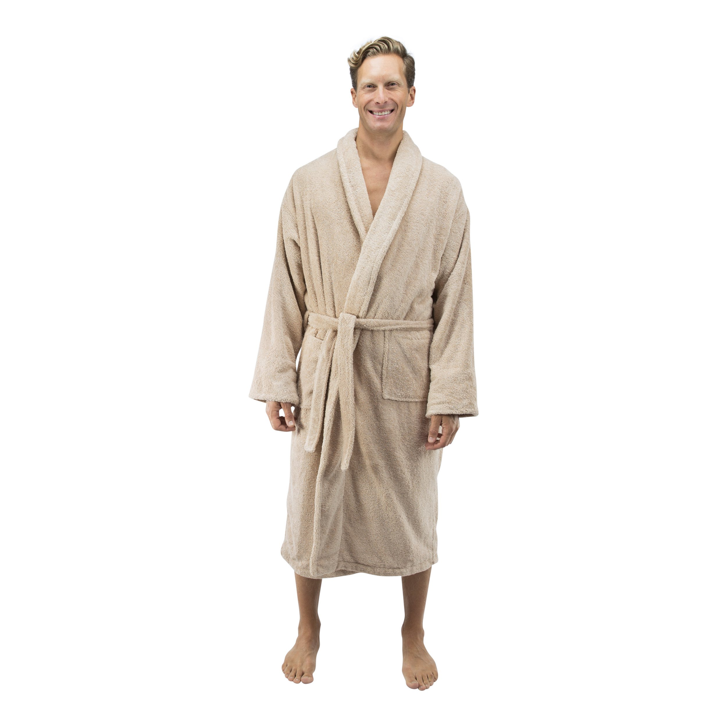 Comfy Robes Personalized Men's Deluxe 20 Oz. Turkish Terry Bathrobe, L/XL (OSFM) Beige