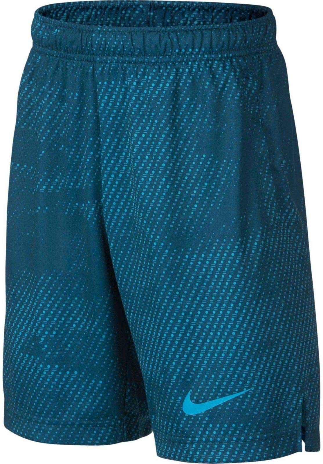 NIKE Boy's Dry Printed Fly Training Shorts (Blue Force, Small)