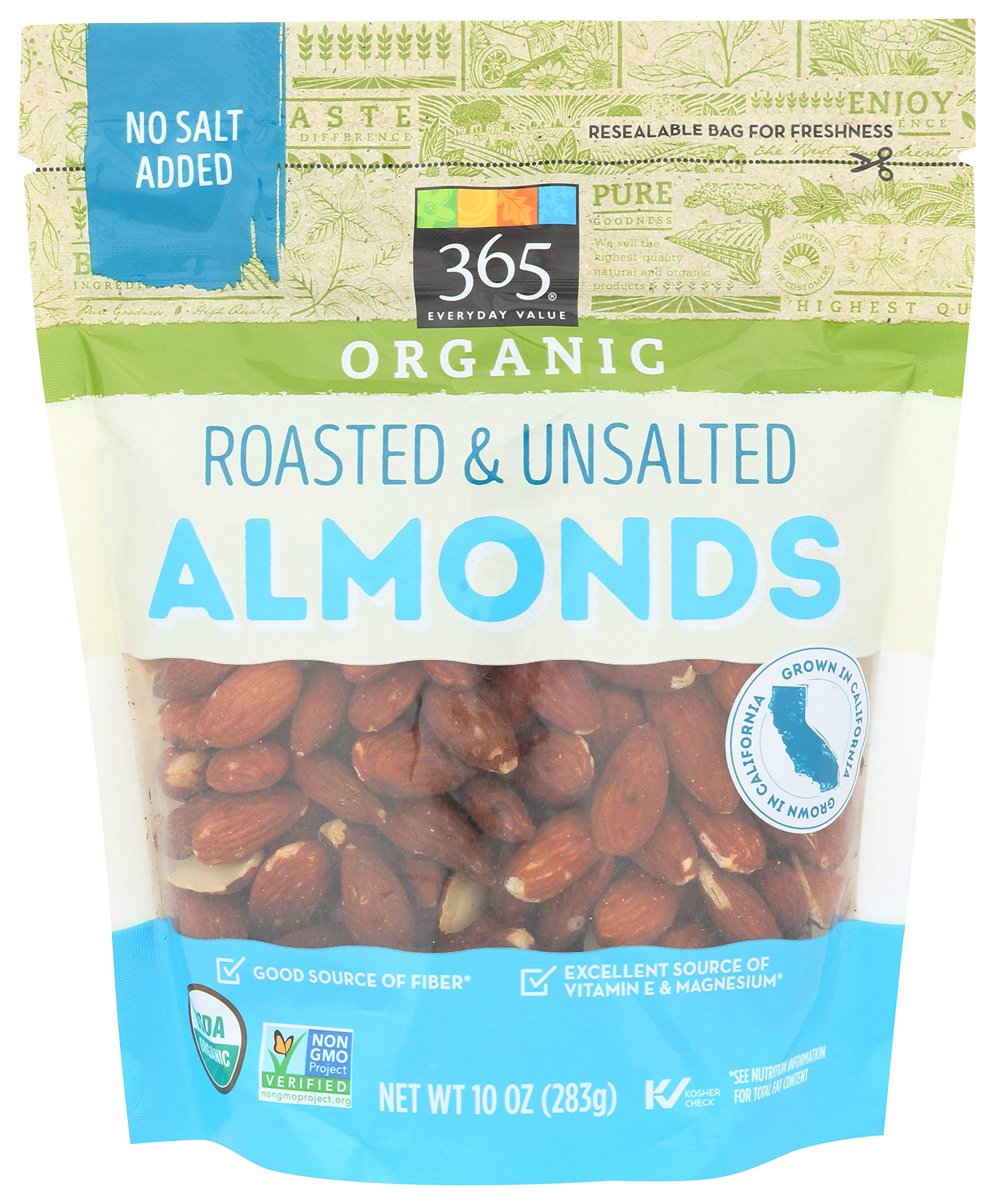 365 Everyday Value, Organic Almonds, Roasted & Unsalted, 10 oz
