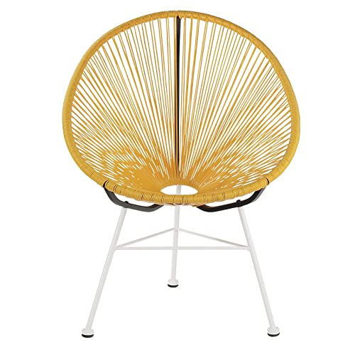 Design Tree Home Acapulco Indoor Outdoor Lounge Chair, Yellow Weave on White Frame