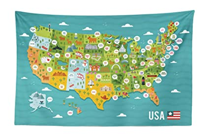 Amazon.com: Lunarable USA Tapestry, Cartoon Style Map of ... on us sightseeing map, fun united states map, united states north carolina attractions, top u.s vacation destinations map, chinese hong kong mtr map, usa map, united states nature map, streets of new york city map, united states natural attractions, united states fishing map, travel destinations united states map, united states map rivers only, united states tourist attractions, united states antiques map, united states golf map, large blank united states map, printable labeled united states map, united states flights map, united states map with state parks,