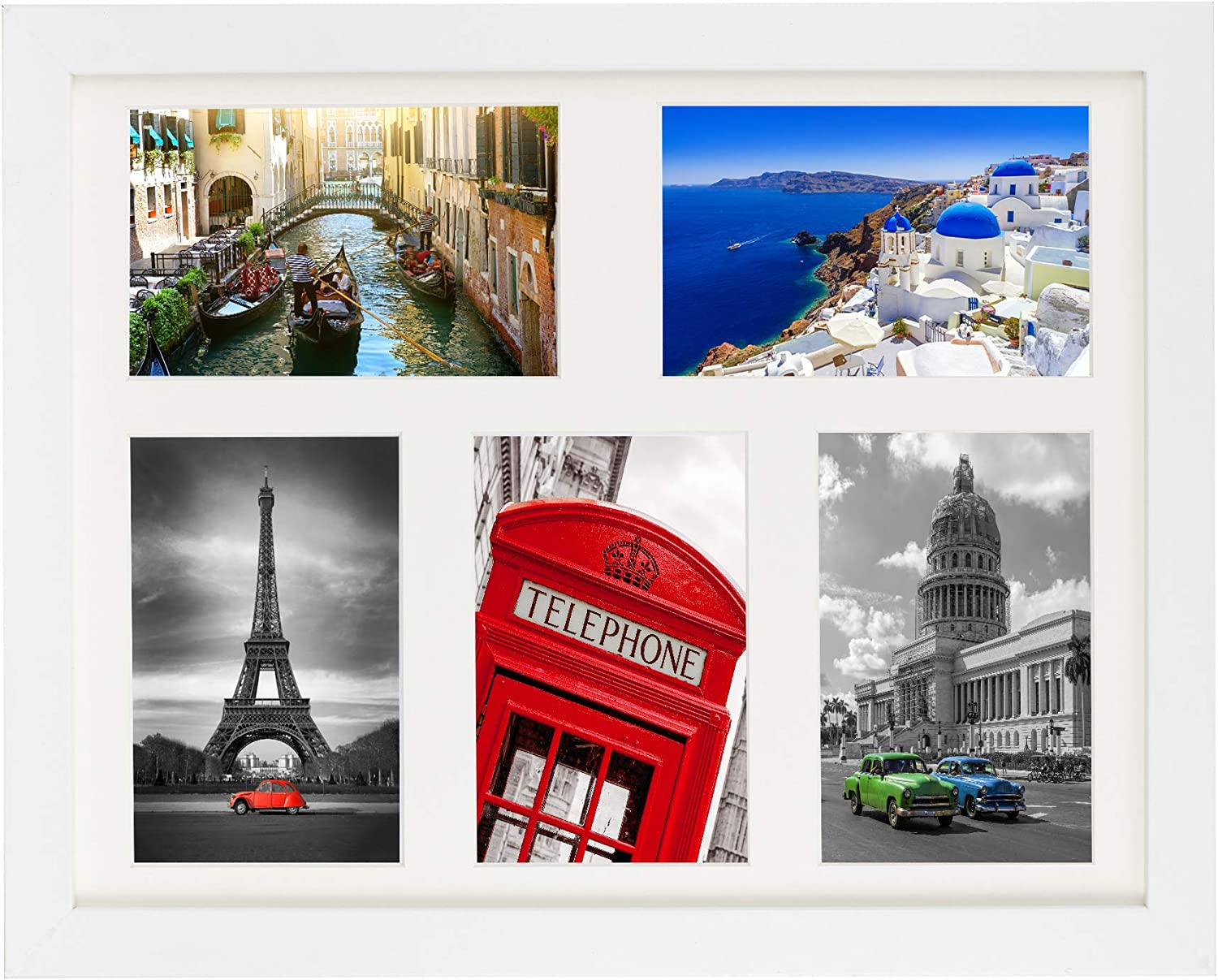 Collage Photo Frames Multi Aperture Picture Frames Fits 9 7 x 5 Inches Photos White Mount Mixed Landscape or Portrait Photo Framed