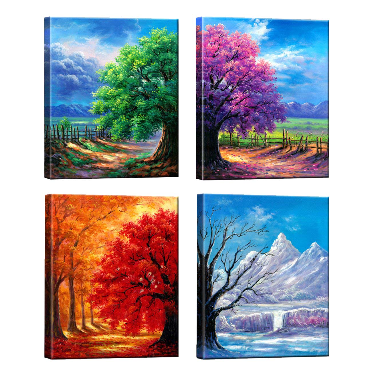 Nuolanart- 4 Seasons Modern Landscape 4 Panels Framed Canvas Print Wall Art, Ready to Hang -P4L3040X4-03