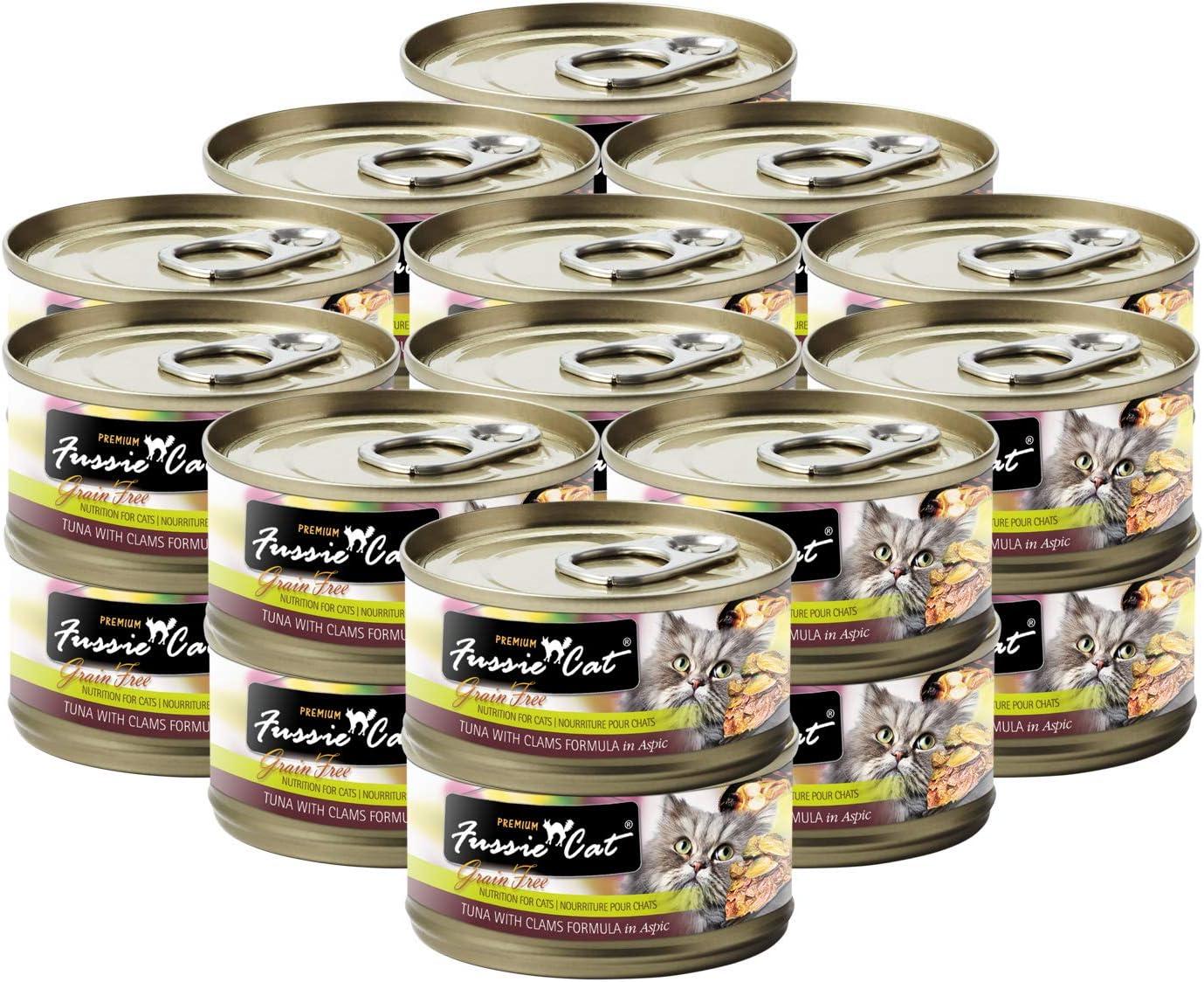 Fussie Cat Premium Tuna & Clams in Aspic Grain-Free Wet Cat Food 2.82oz, case of 24