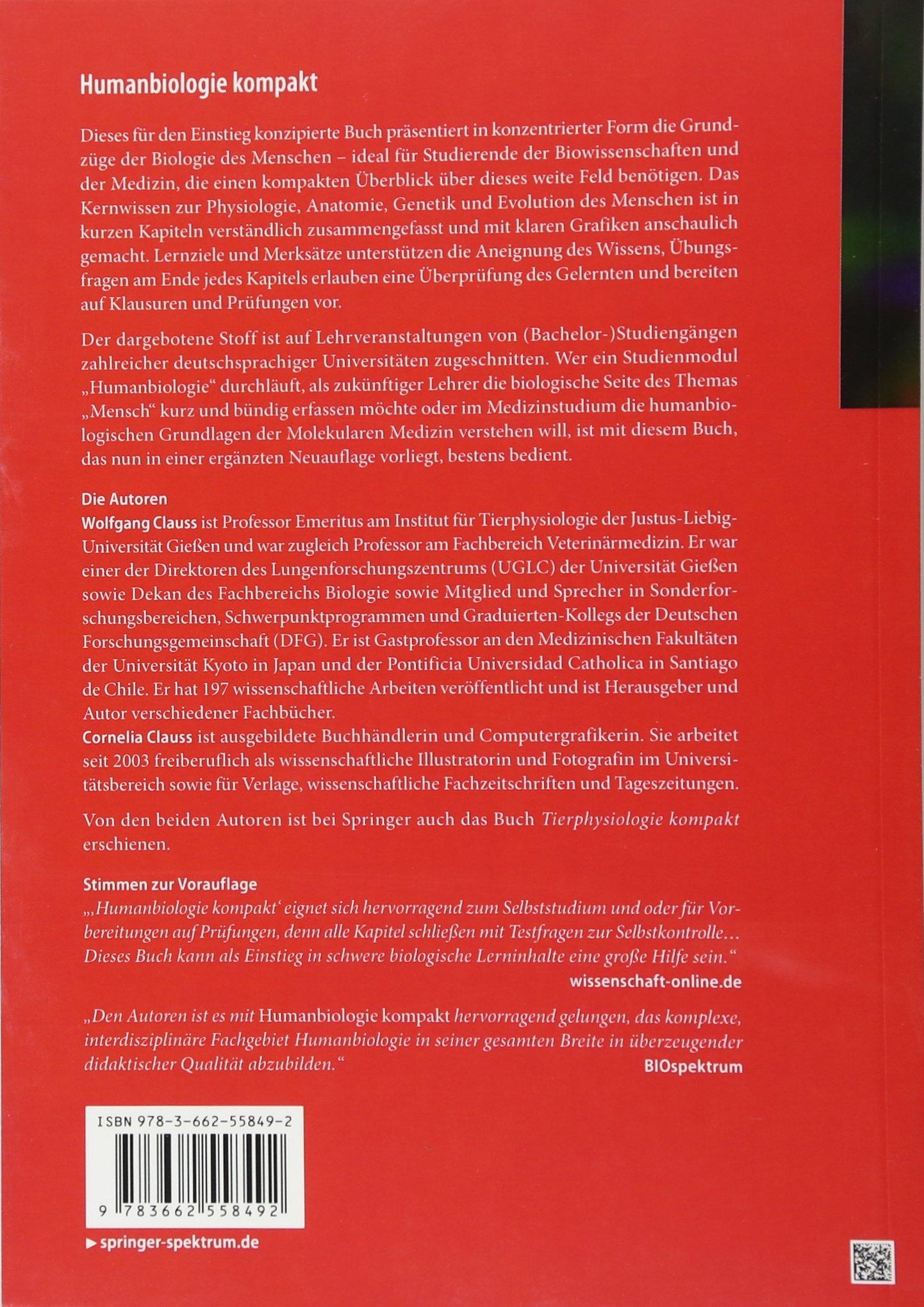 Humanbiologie kompakt: Amazon.de: Wolfgang Clauss, Cornelia Clauss ...