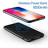 iWALK Qi Wireless Power Bank Charger for iPhone X iPhone 8 Plus Samsung Galaxy S9 S8 Plus Note 8 LG G6, 8000mAh Phone Portable Battery Charger, Dual USB Output, USB C & Micro USB input