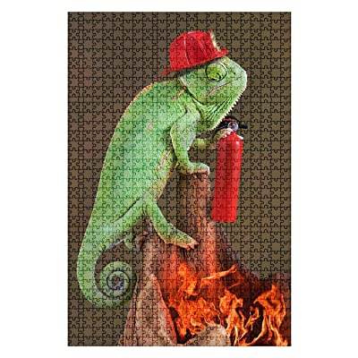 1000 Pieces Wooden Jigsaw Puzzle Chameleon Firefighter with fire Extinguisher Colorful Animals Stock Fun and Challenging Board Puzzles for Adult Kids Large DIY Educational Game Toys Gift Home Decor: Toys & Games