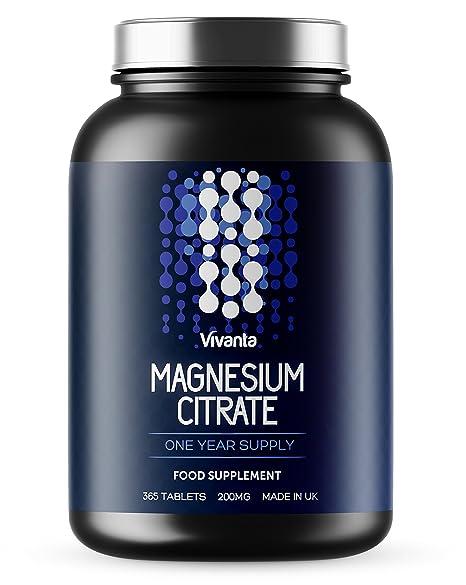 Citrato de magnesio - 200 mg x 365 pastillas | Suministro para 1 año | Aptas