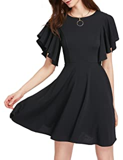 57b11bfc127e Romwe Women's Stretchy A Line Swing Flared Skater Cocktail Party Dress