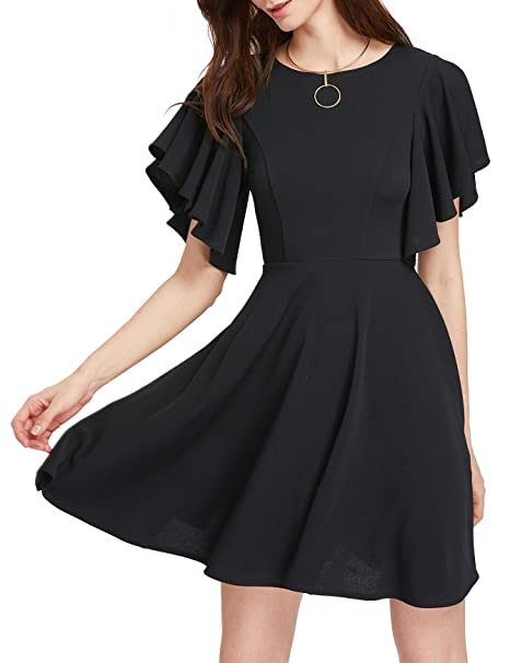 287bc8181208 Romwe Women's Stretchy A Line Swing Flared Skater Cocktail Party Dress  Black XS