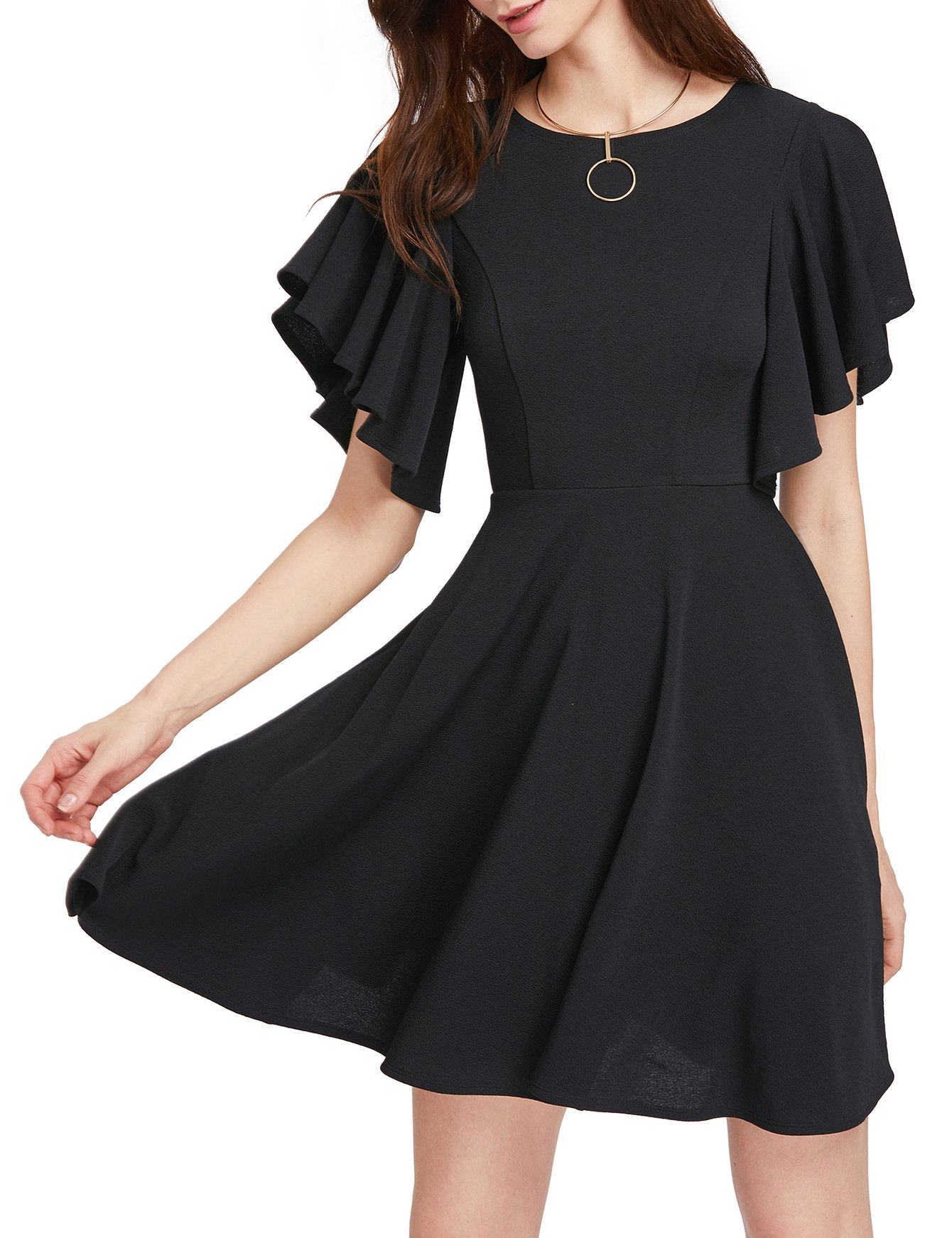 ROMWE Women's Stretchy A Line Swing Flared Skater Cocktail Party Dress Black L by Romwe (Image #1)