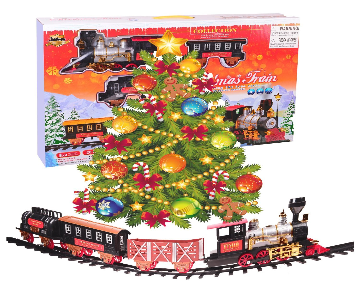 amazoncom northern express christmas train set around the tree holiday santa train set large scale 20pcs train model toys games