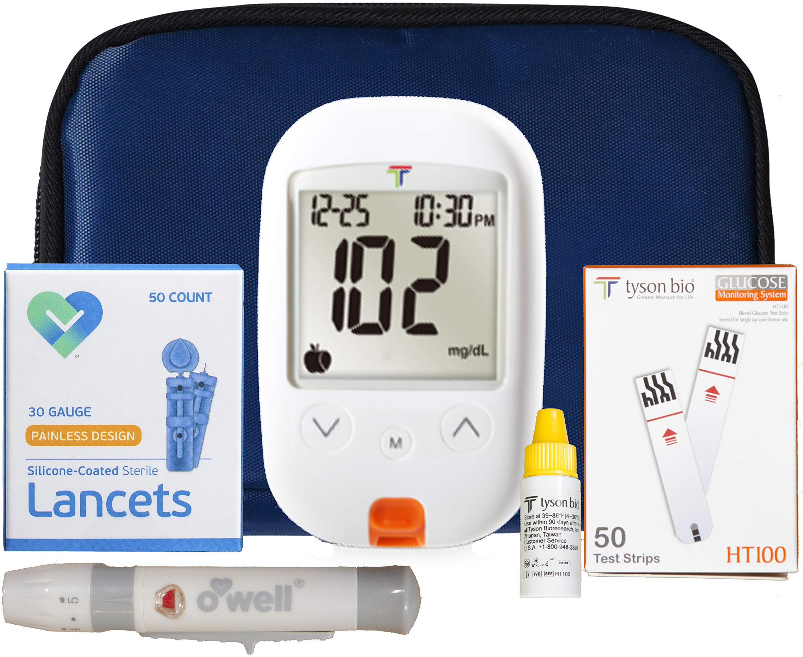 O'WELL Tyson Blood Glucose Monitoring Kit | Starter Kit + 50 Refills | Tyson HT100 Meter, 50 Test Strips, 50 Lancets, Lancing Device, Control Solution, Log Book, Manual and Carry Case product image